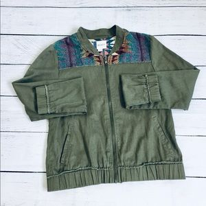 Roxy military green zipper light jacket s